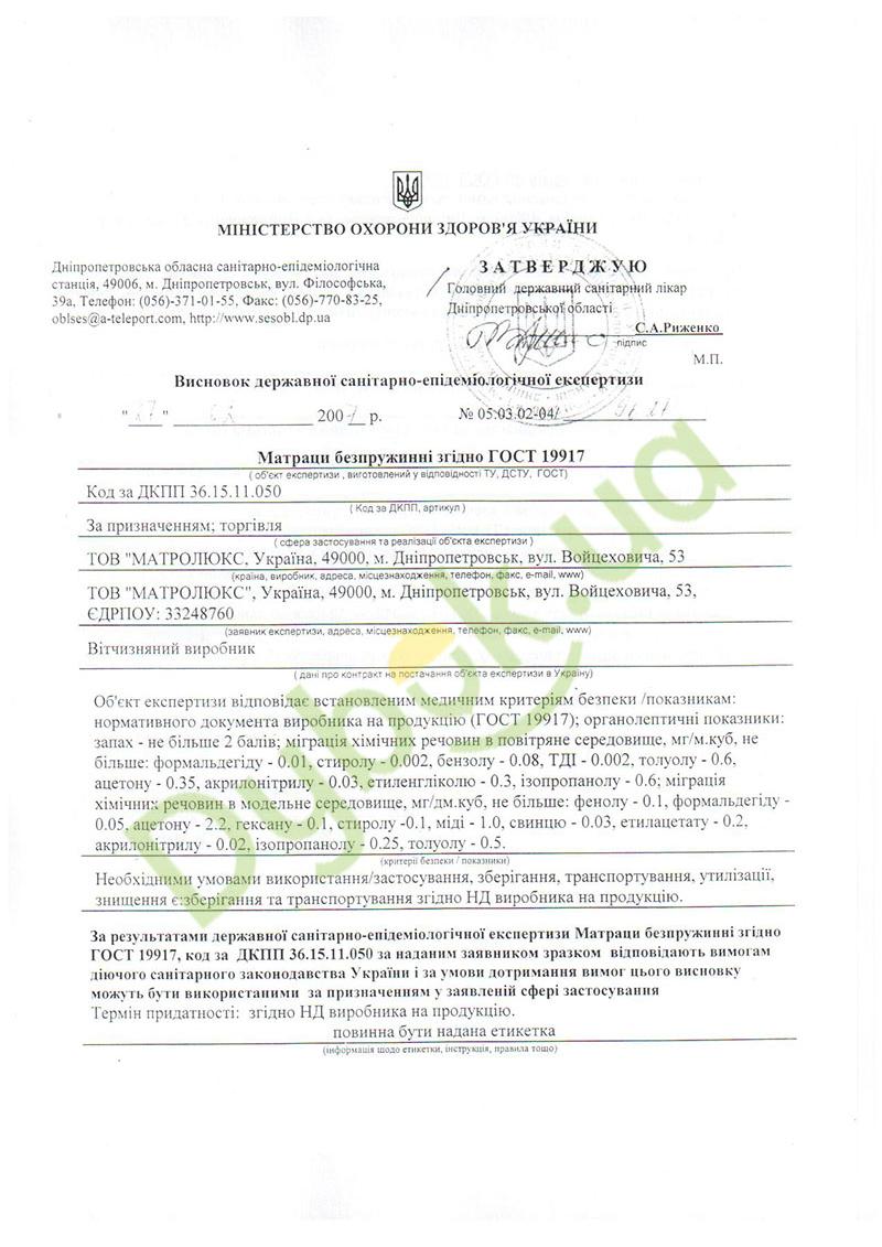 Сертифікат Matrolux
