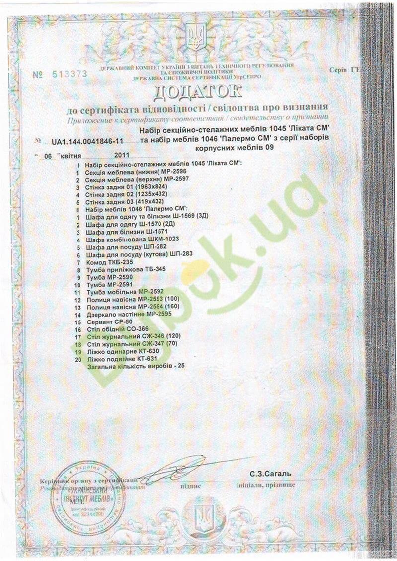 Сертифікат Світ меблів