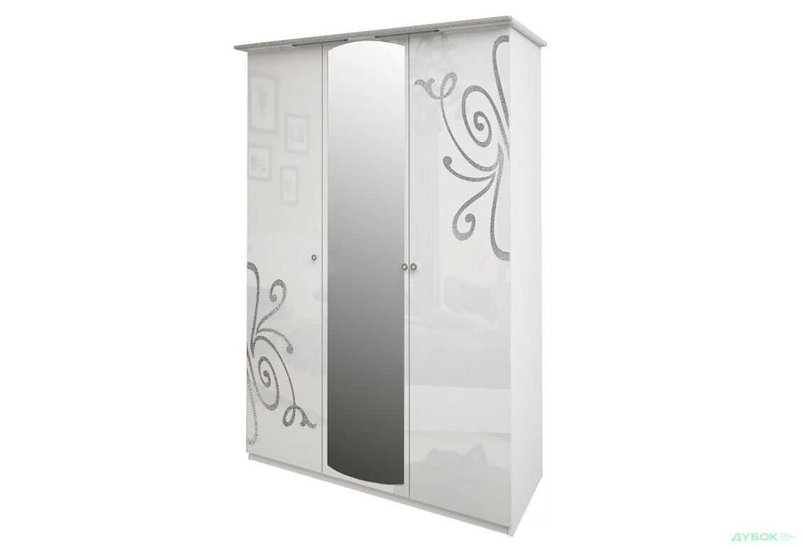 Модульная спальня Богема Шкаф 3Д (с зеркалами)