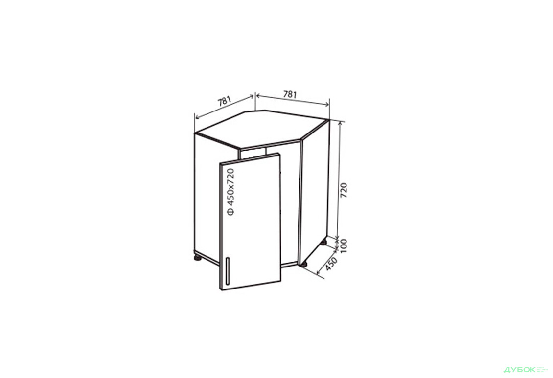 Модульная кухня МоДа металик / MoDa metallic Н34 Тумба угловая