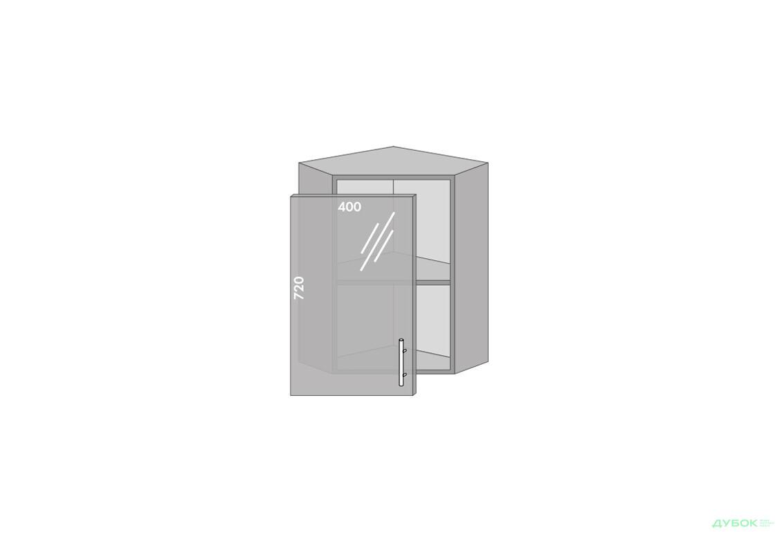 Модульна кухня Серія Prestige Верх 58 вітрина кут