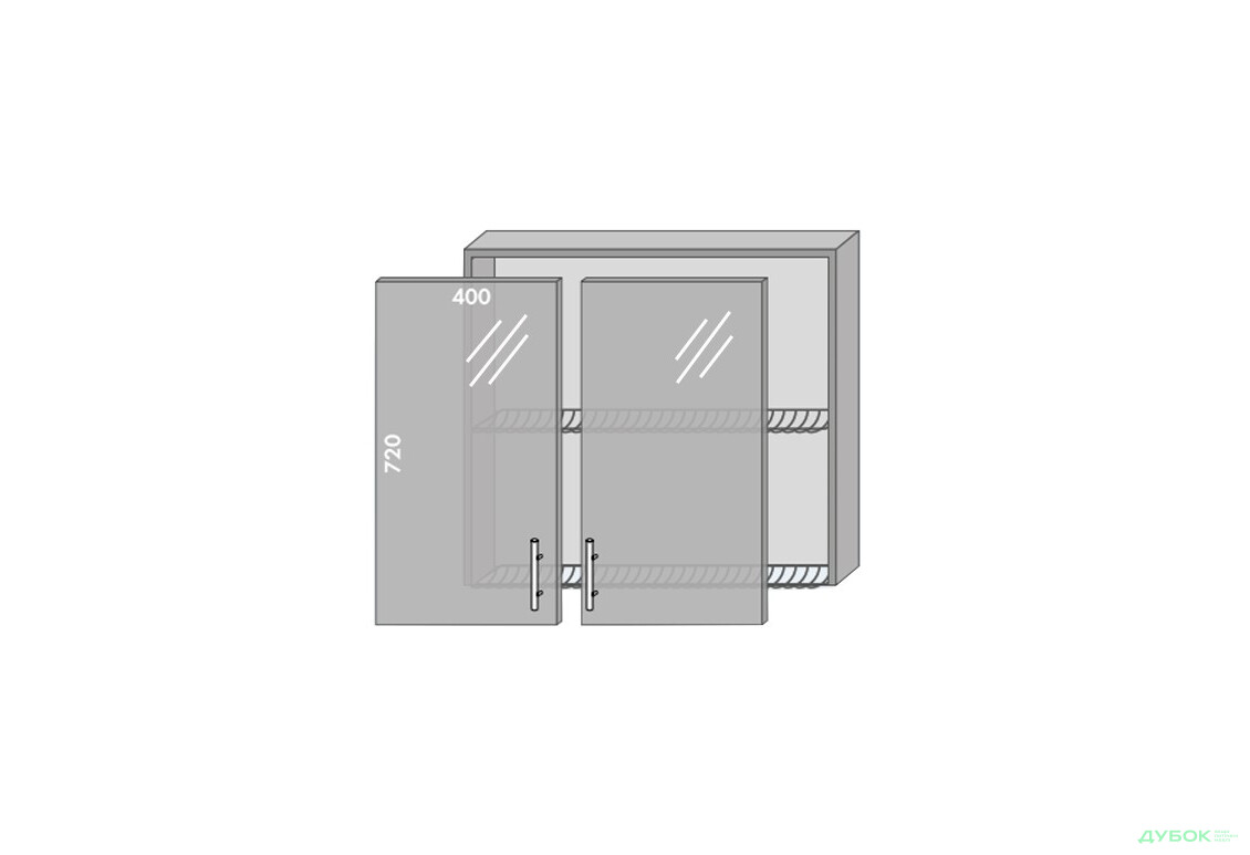 Модульная кухня Серия Prestige Верх 81 витрина-сушка