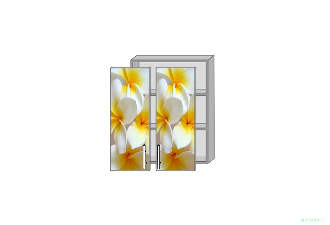 Модульная кухня Серия High Gloss Верх 960 витрина фотопечать