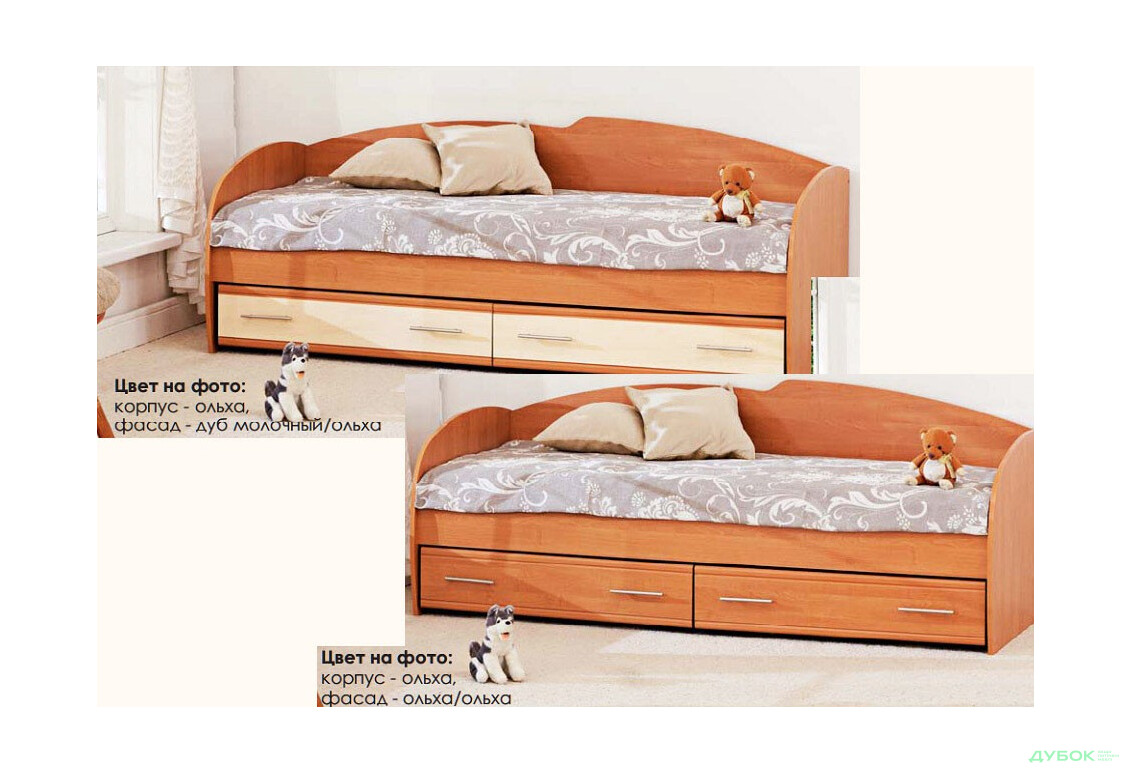 Модульная спальня Серия Софт Кровать с шухлядами К-117 (без матраса)