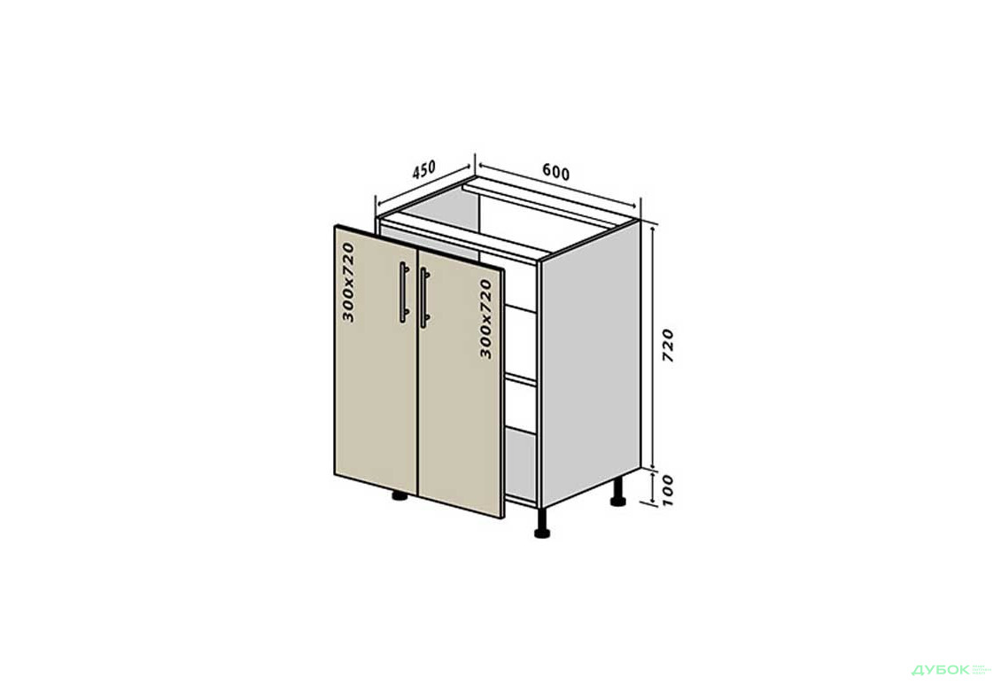 Модульная кухня МоДа / MoDa Н6 Тумба 2Д 60