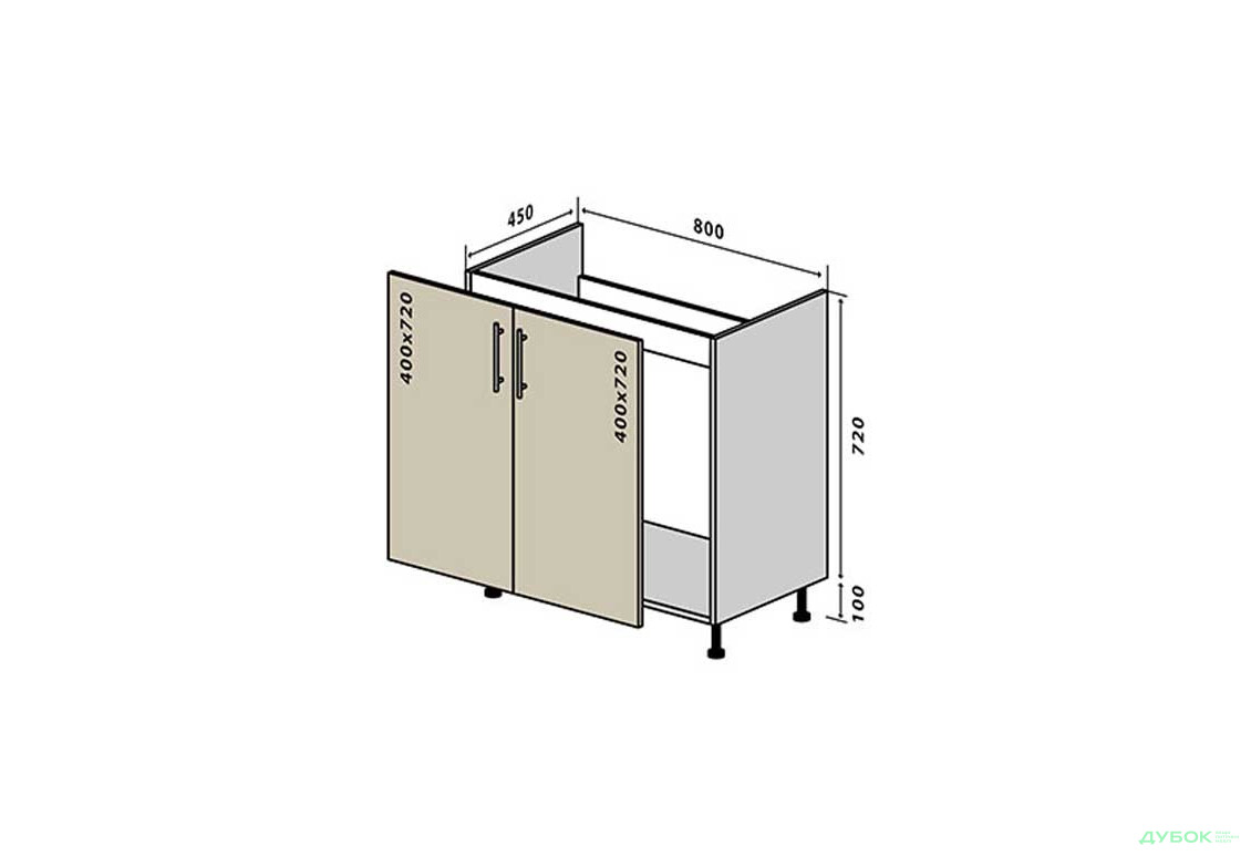 Модульная кухня МоДа / MoDa Н14 Тумба мойка 2Д 80