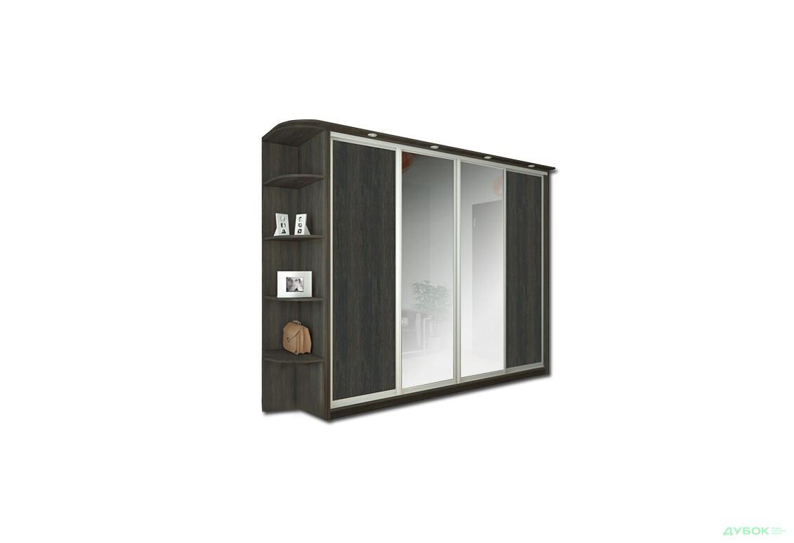 Шкаф-купе 4Д 2.4 м 3 Комплект: 2 ДСП + 2 Зеркала + Угол + Карниз