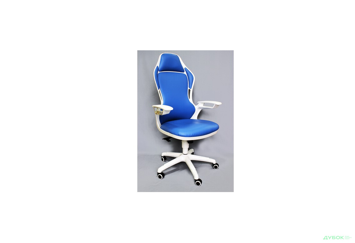 Кресло Racer к/з синий, каркас белый арт. 512450