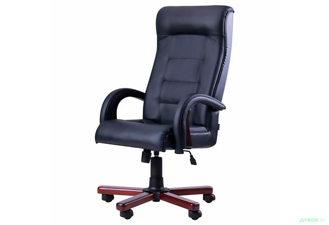 Кресло Роял Люкс орех, кожа Сплит черная, арт.30106