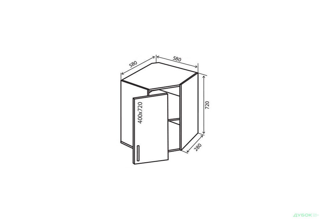 Модульна кухня Флет В14 Тумба кутова 1Д