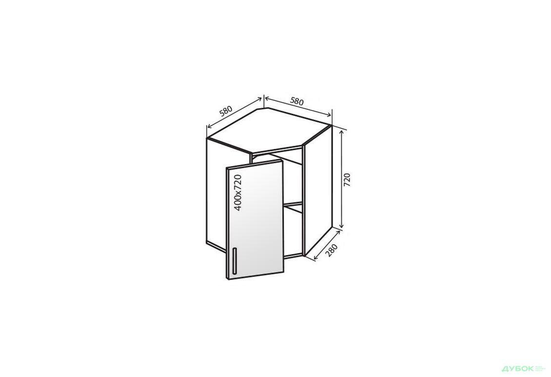 Модульная кухня Флэт В14 Тумба угловая 1Д витрина