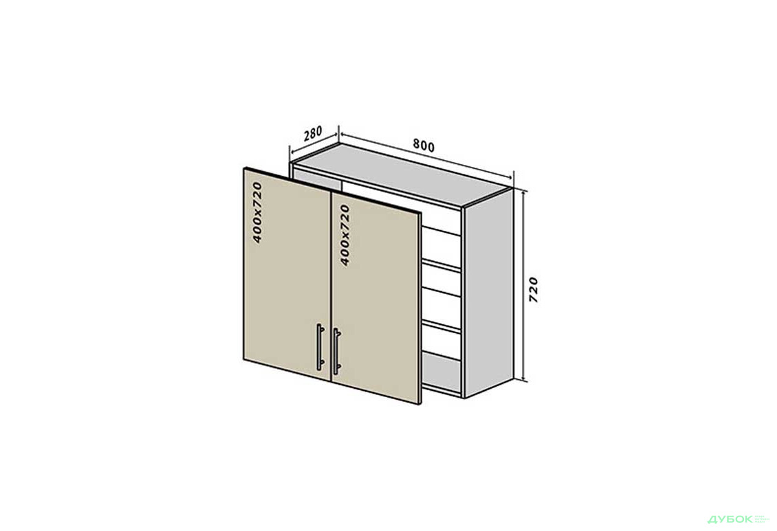 Модульная кухня Аморе Классик / Amore Classic В8 Тумба 2Д 80