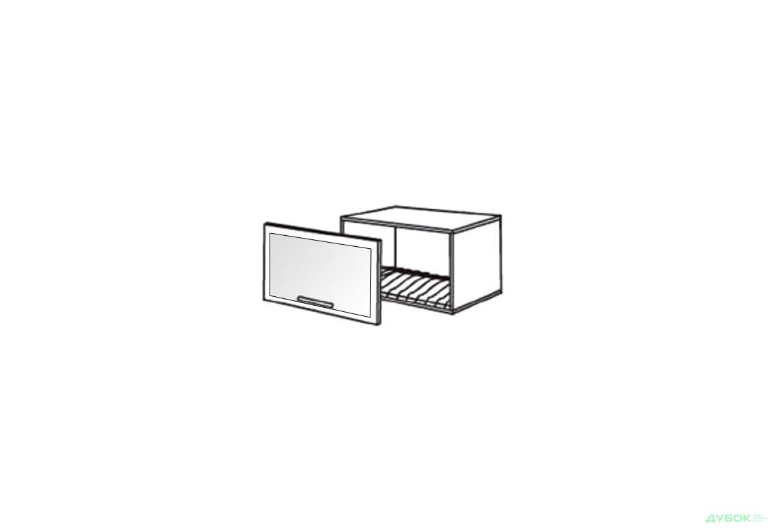 Шкаф нав. 600 ШКН 1101 для посуды (витрина-алюм.)
