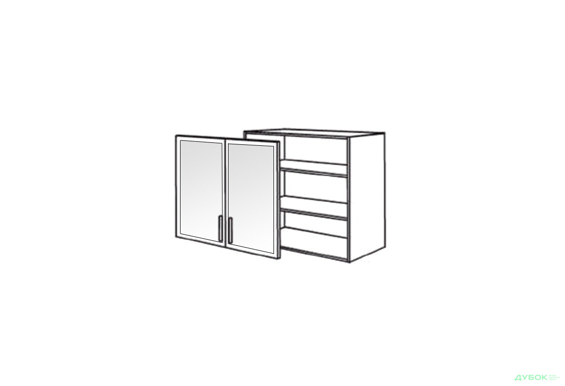 Шкаф нав. 800 ШКН 1095.1 (витрина-алюм.)