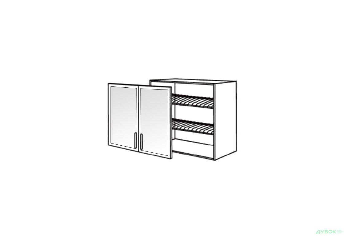 Шкаф нав. 800 ШКН 1096.1 для посуды (витрина-алюм.)