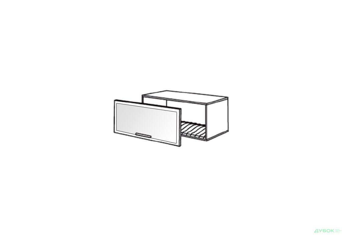 Шкаф нав. 800 ШКН 1101.1 для посуды (витрина-алюм.)