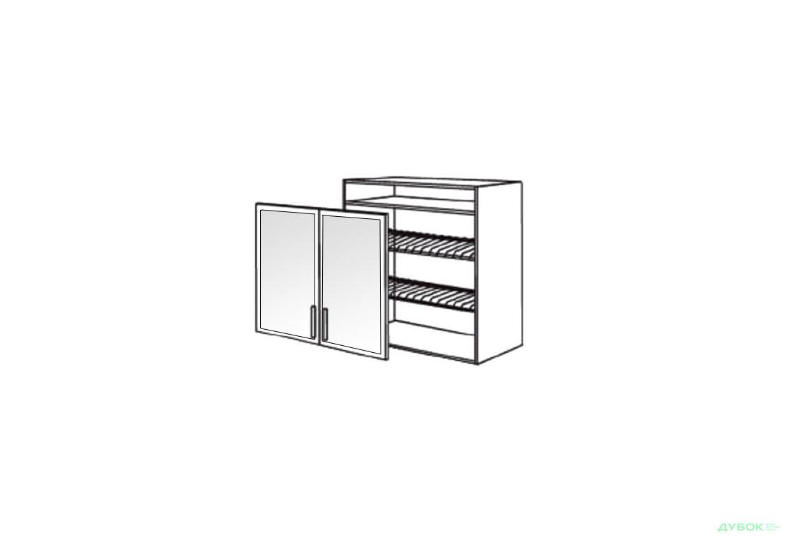 Шкаф нав. 800 ШКН 1106.1 для посуды (витрина-алюм.)