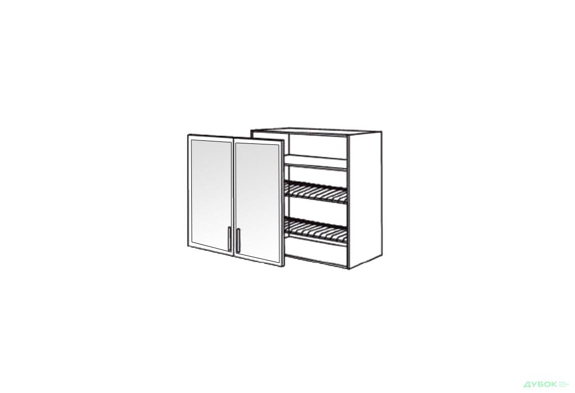 Шкаф нав. 800 ШКН 1110.1 для посуды (витрина-алюм.)