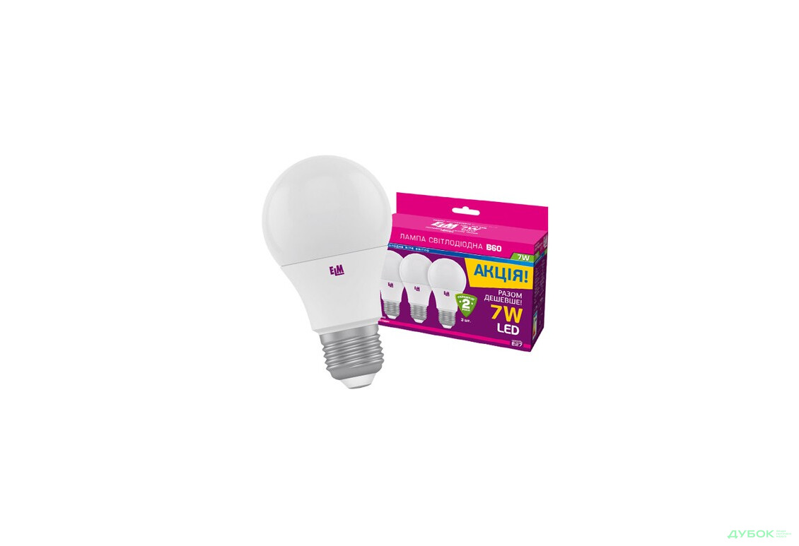 Лампа B60 7W E27 4000 3шт