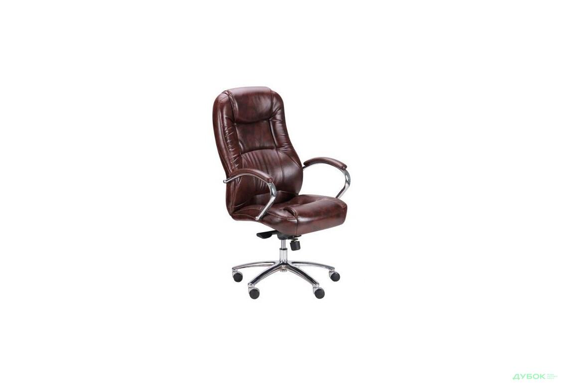 Кресло Мустанг MB Хром Мадрас дк браун, вставка Мадрас дк браун перфорированный арт.263611