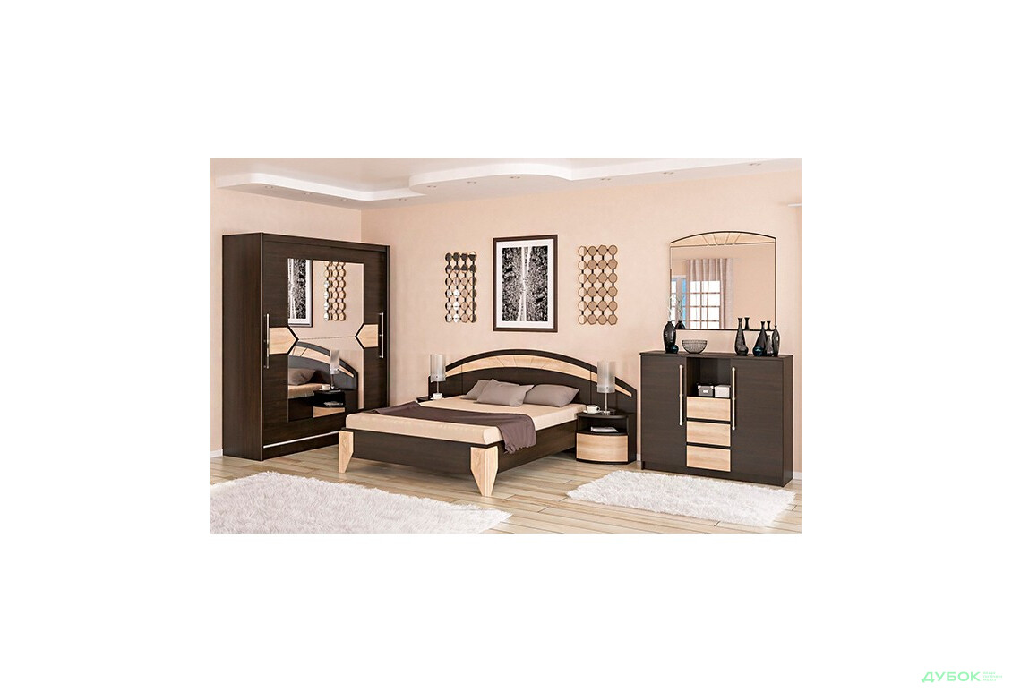 Модульная спальня Аляска Комплект со шкафом-купе 2Д + комод 3Ш2Д