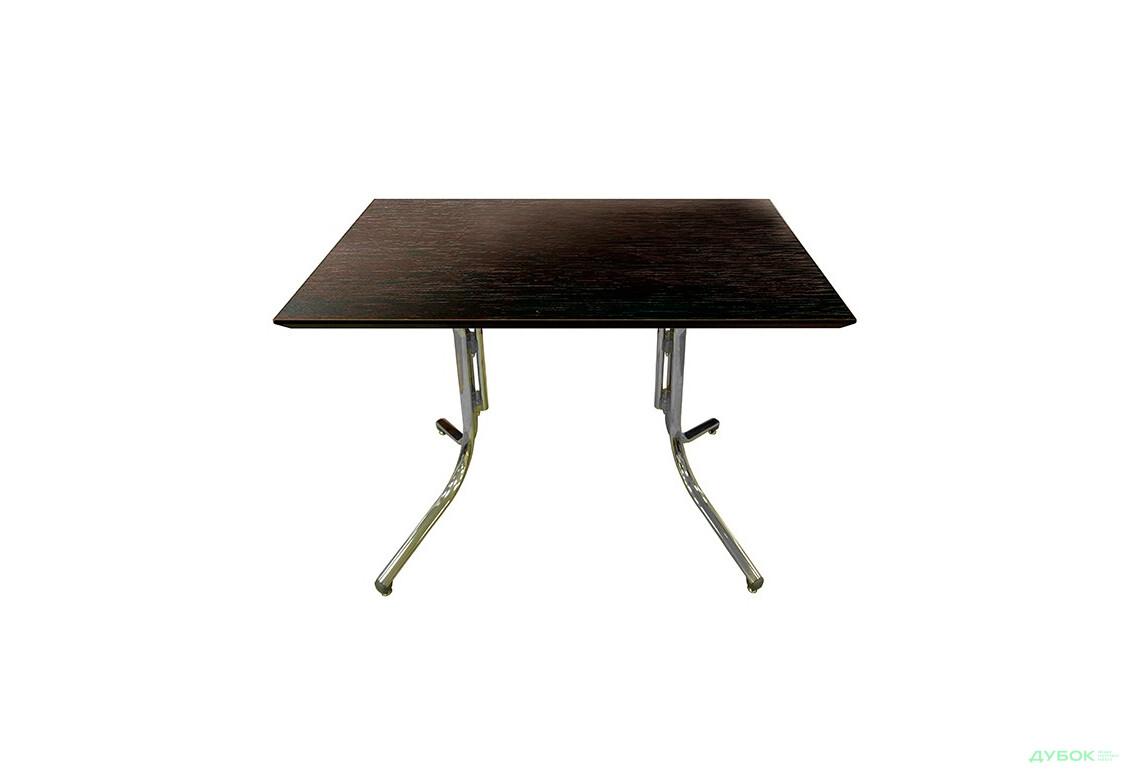 Стол: Столешница Сакура 1200х700 Венге+База Алия H 500 хром, пластик серый