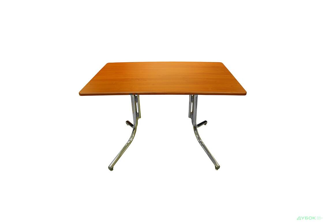 Стол: Столешница Савойя вишня мемфис 1200х690х19+База Алия H 500 хром, пластик серый