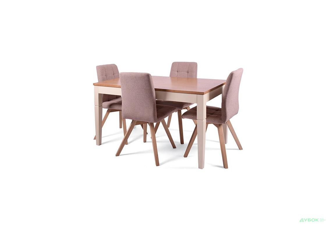 Комплект: Стол Прага 140(+60)х80 (раскладной) + стулья Найс/4шт