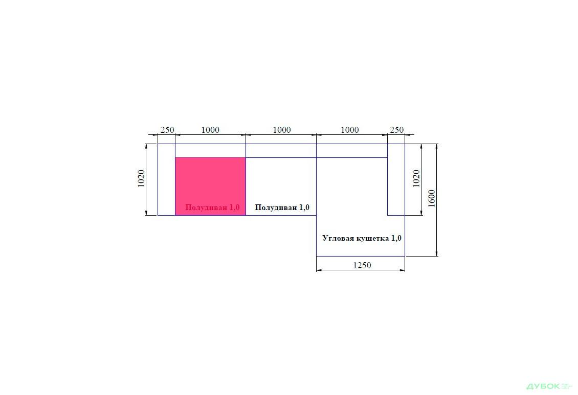 Мягкая система Тиффани Элемент №1 полудиван (Ш: 1,00 м. Г: 1,15 м.)