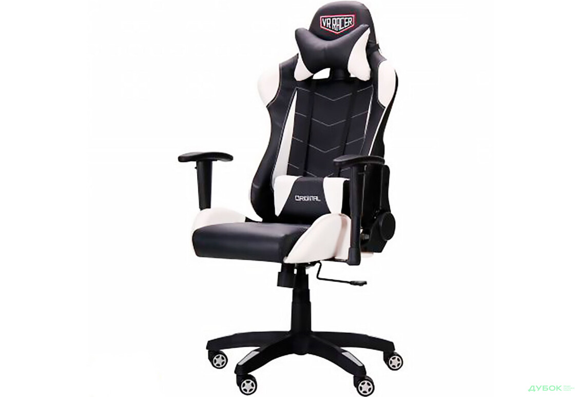 Крісло VR Racer Blade чорний/білий PU Relax, арт.515280