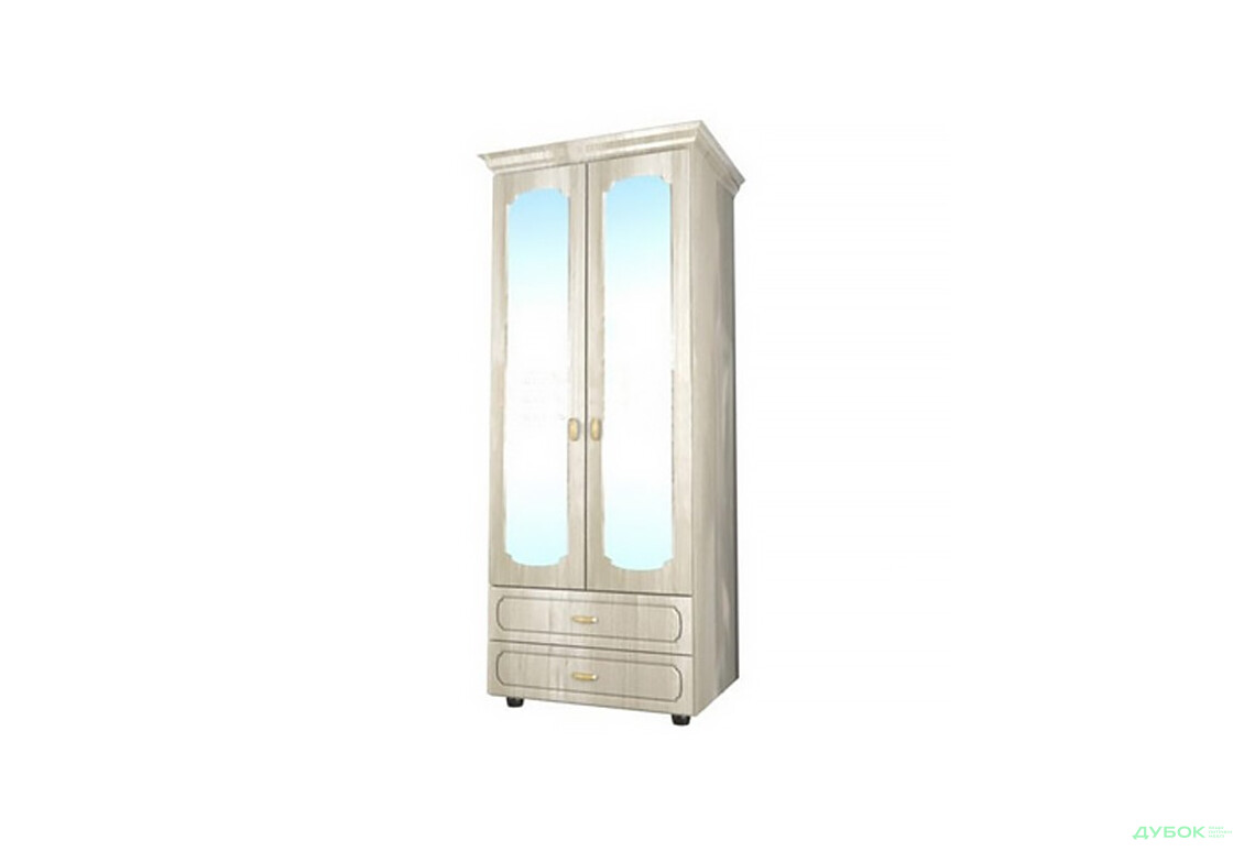 Модульная спальня Дженифер белая Шкаф 2Д с зеркалом Ш-1617